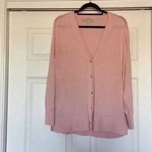 Loft Size Large Pink V Neck Button Down Cardigan